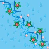 Acqua astratto sfondo e ramo con fiori — Vettoriale Stock