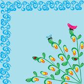 Abstraktní rámec s motýly a berušky — Stock vektor