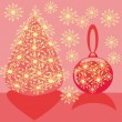 Christmas plot.Tree and ball. — Vettoriali Stock