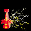 Stock Vector: Guitar on black background with lightnings