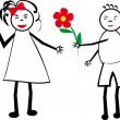 The boy gives flowers to the girl. A children — Stock Vector