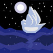 Stock Vector: Ship in night