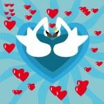 Swan in love — Stock Vector