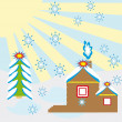 Winter day — Vector de stock #7089828