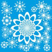Fondo abstracto con las flores o los copos de nieve — Vector de stock