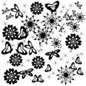 Abstrait avec fleurs et papillons — Vecteur