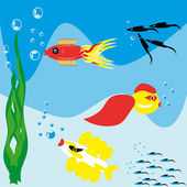 Fishes in the underwater world — Stock Vector