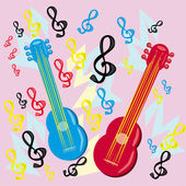 Two guitars on a musical background — Vector de stock