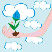 Flower in a hand — Vector de stock