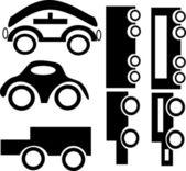 在白色背景上的黑色轿车一套 — 图库矢量图片