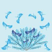 Vogels van het paradijs op een boom winter — Stockvector
