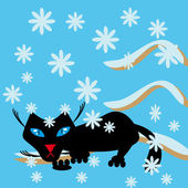 Black cat on a snow branch — Vector de stock