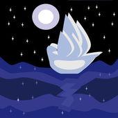 Ship in night — Stock Vector