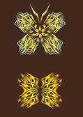 Izole arka kelebek — Stok Vektör