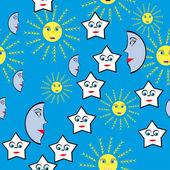 与星星和太阳的抽象图案 — 图库矢量图片