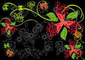 Kelebek ve çiçek ile çatı — Stok Vektör