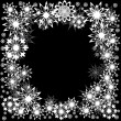 Stock Vector: Floral winter frame with snowflakes