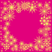 Floral winter frame with snowflakes — Cтоковый вектор