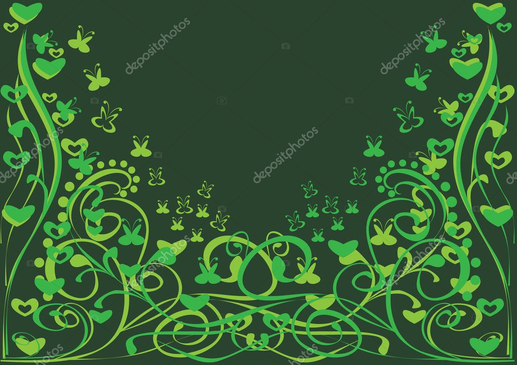 Background with curling branch. Illustration.  Stock Vector #7403751