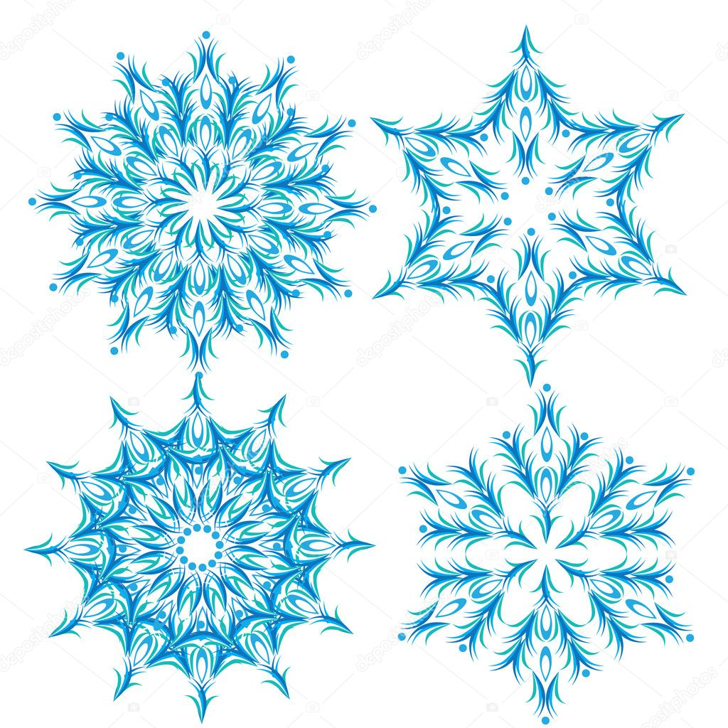 Set of abstract vector snowflake. Illustration. — Stock Vector #7404048