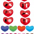 Set of hearts with different silhouettes — Stock Vector #7501344