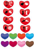 Set of hearts with different silhouettes — Stock Vector