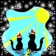 Stock Vector: Two cats meet a holiday
