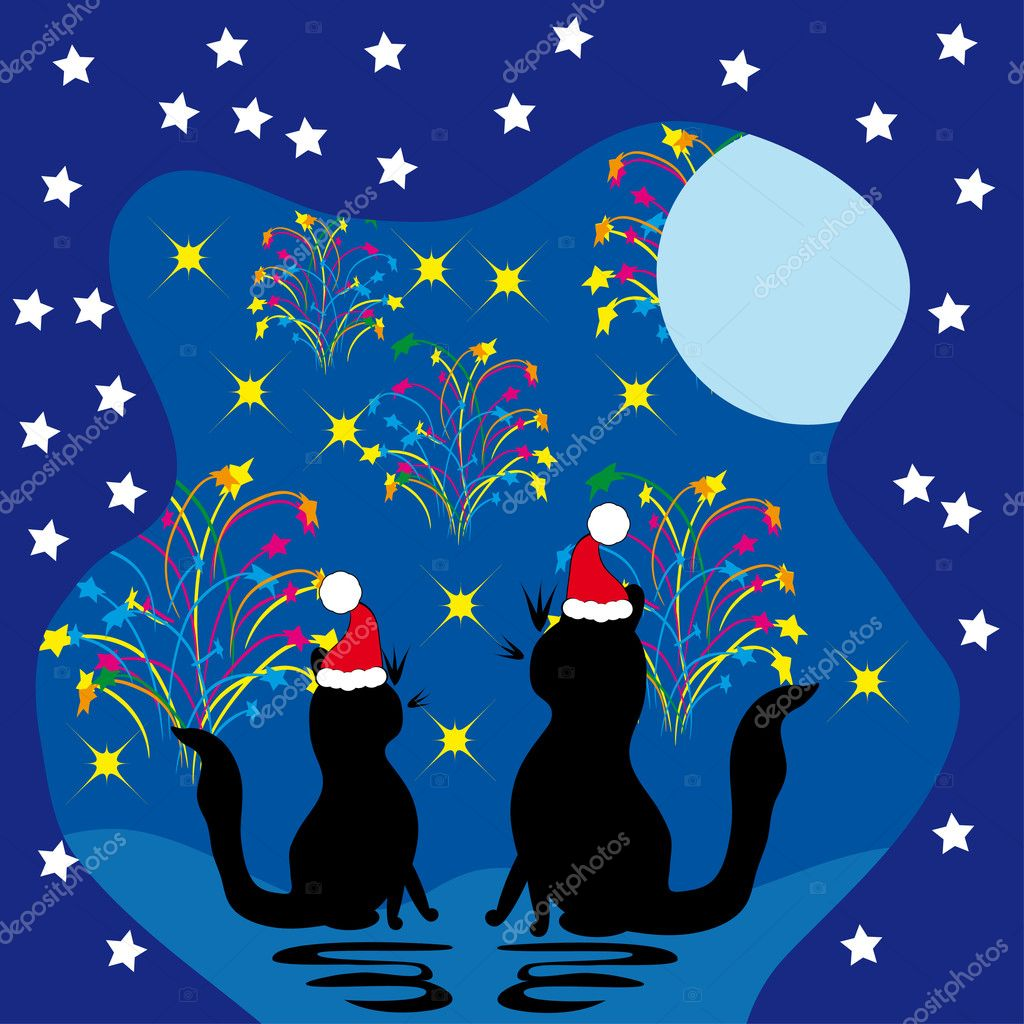 Two cats meet a holiday. vector illustration — Stock Vector #7544772