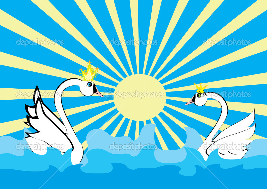 Love of two swans and the sea — Stock Vector #7544786