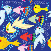Abstract seamless pattern with fishes — Stock Vector