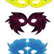 Set of abstract vector isolated carnival masks - Stok Vektör