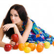 Stock Photo: Young beautiful brunette with fresh fruits
