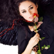 Black angel with a scarlet rose — Stock fotografie