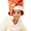 Lovely baby in Christmas hat and fur — Stock Photo #7636803