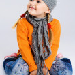 Little fashionable girl in warm clothes — Stock Photo