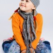 Little fashionable girl in warm clothes - Foto de Stock