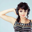 Stock Photo: Lovely girl with headphones