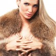 Stock Photo: Beautiful model in fur