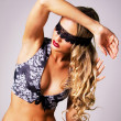 Sexy beautiful blindfold woman — Stock Photo