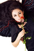 Black angel with a scarlet rose — Stock Photo