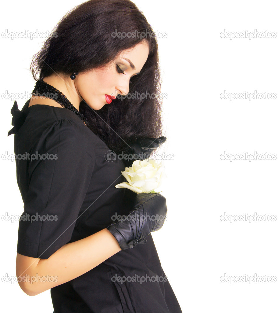 Pretty brunette holding a white rose's bud on white — Stock Photo #7636677