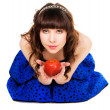 Lovely girl with a red apple — Stock Photo