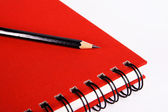 Red notebook with a pencil — Stock Photo
