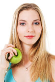 Lovely girl with green apple — Stock Photo
