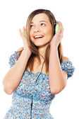 Lovely girl listening a music — Stock Photo