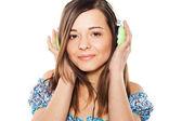 Menina bonita, ouvindo uma música — Foto Stock