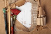 Brushes and pencil — Stock Photo