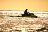 Jet skis, rescue, safety, sea, sunset, — Stock Photo