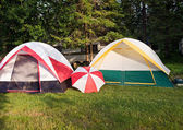 Two tents and umbrella — Stock Photo