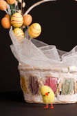 Chicken and Easter Basket — Stock Photo